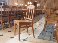 Chairs set out in the dining hall