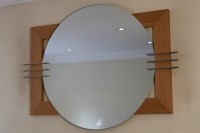 Circular Mirror with Steel Fin Detail