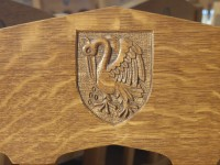 Carved Pelican on dining chair