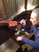 Finishing a Merton College pew
