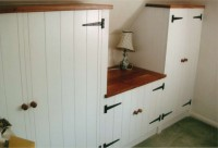 Fitted Bedroom Cupboards in Painted Ash with oak Tops