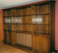 Large Bookcase with Cupboards and Radiator Cover