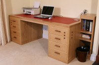 Contemporary Oak Desk with Walnut Details
