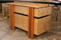 Contemporary Coffer in Pippy Oak and American Cherry