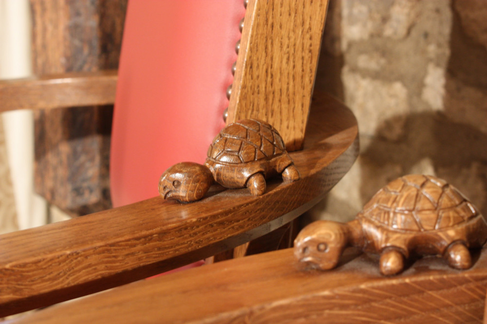 Tortoise carving detail for Corpus Christi college chairs