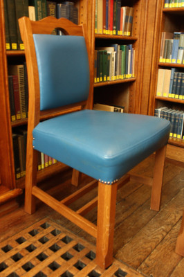 Leather upholstered library chair